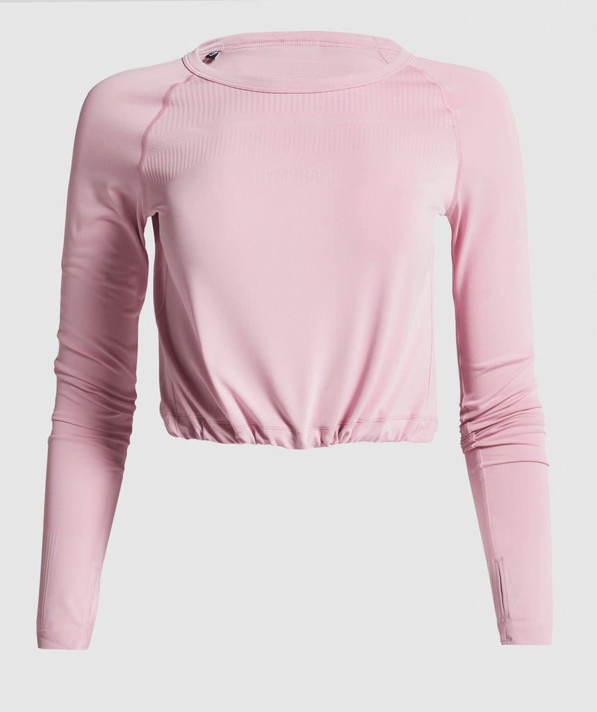 Gymshark Breeze Lightweight Seamless Long Sleeve Crop Top - Pink 1