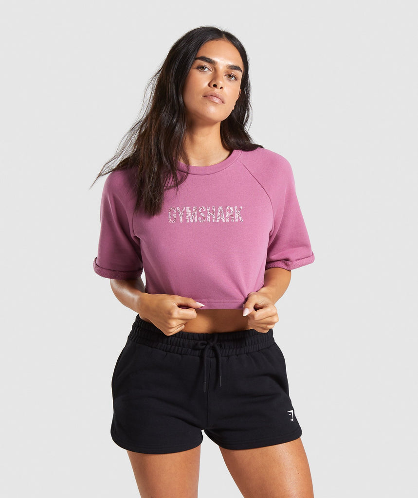 Gymshark Botanic Graphic Boxy Crop Top - Mauve 1
