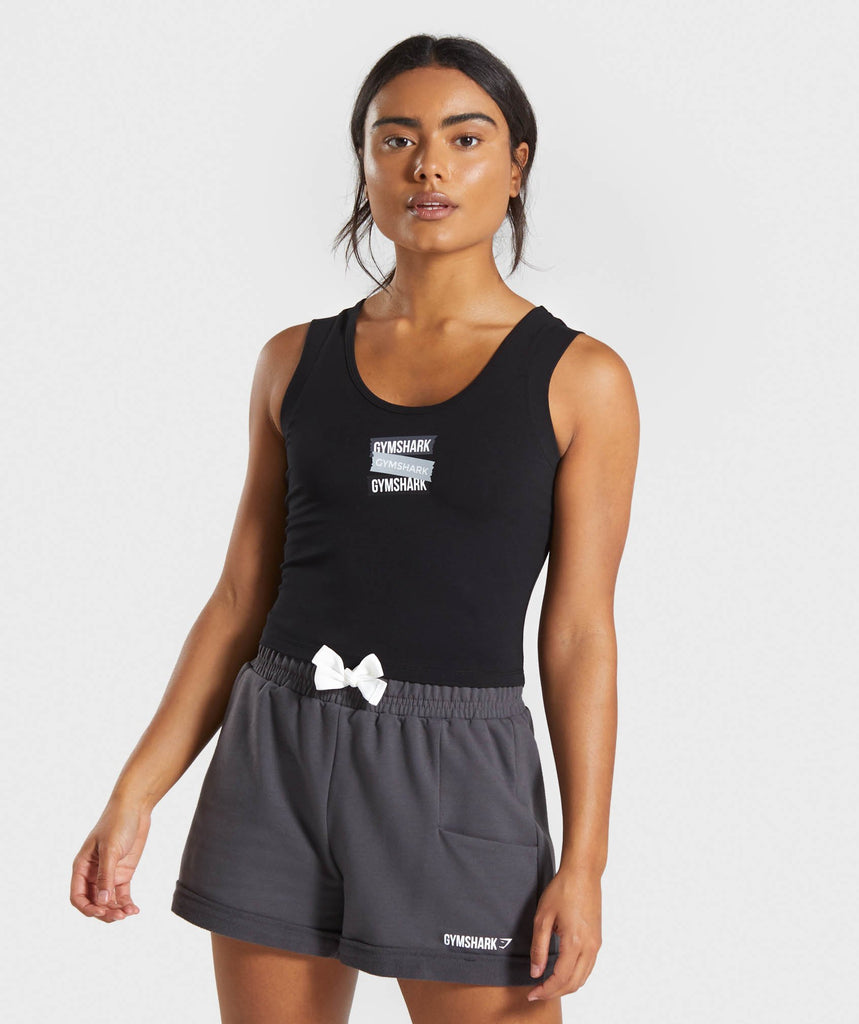 Gymshark Branded Crop Top - Black 1