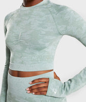 Gymshark Camo Seamless Long Sleeve Crop Top - Sage Green 12