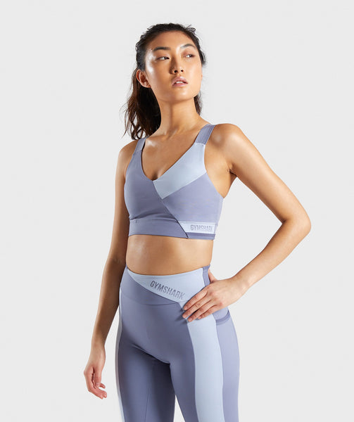 Gymshark Colour Block Sports Bra - Steel Blue Tones 4