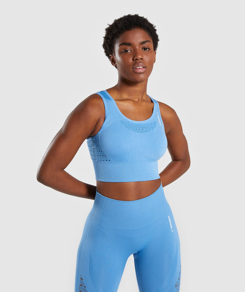 Gymshark Energy+ Seamless Crop Top - Blue 4