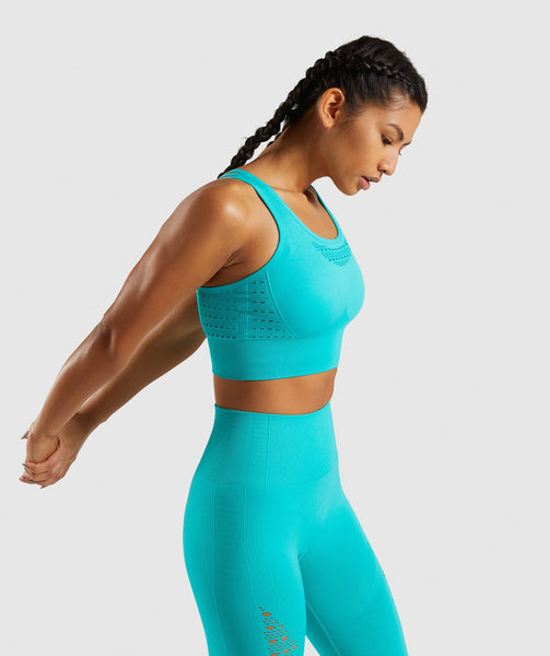 Gymshark Energy+ Seamless Crop Top - Tropical Blue 2