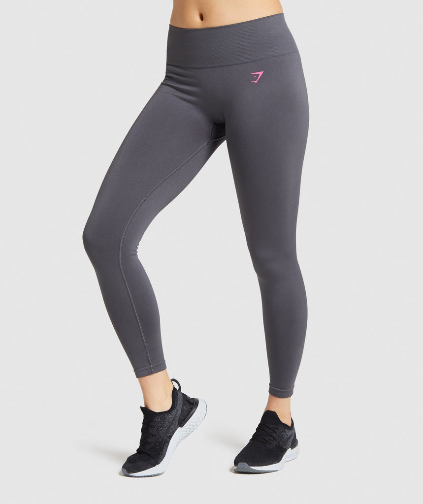 Gymshark Fit Mid Rise Leggings - Charcoal/Pink 1