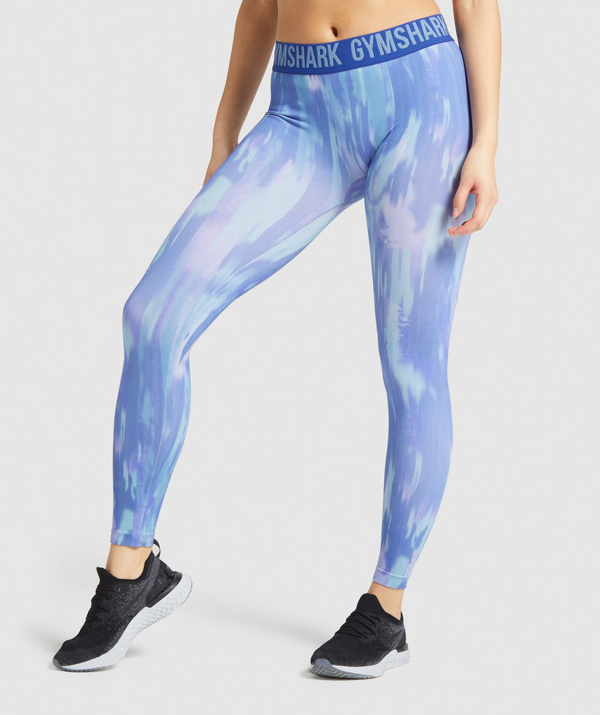 Gymshark Fit Printed Leggings - Blue 1