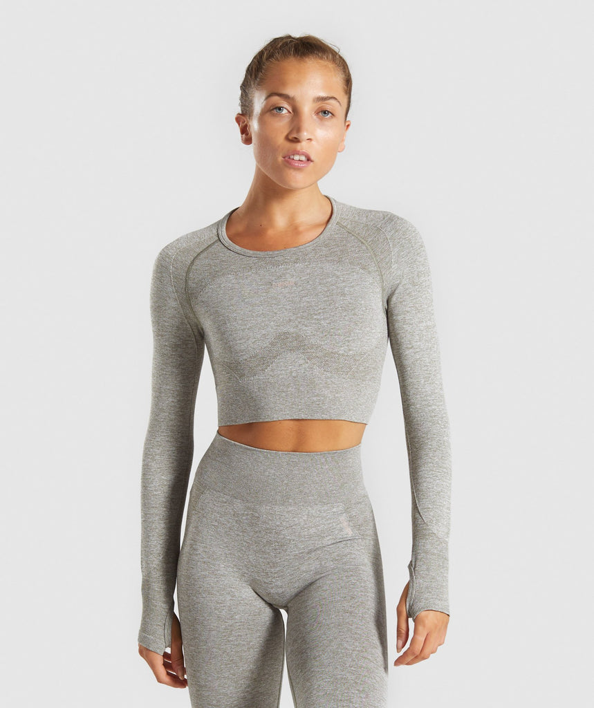 Gymshark Flex Sports Long Sleeve Crop Top - Khaki Marl/Taupe 1