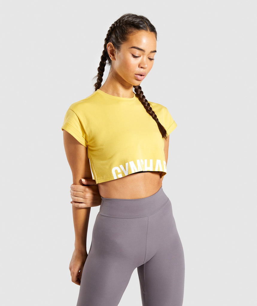 Gymshark Fraction Crop Top - Yellow 1