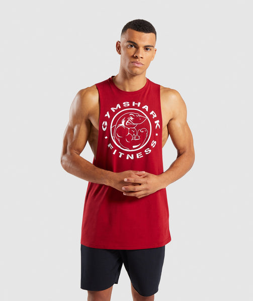 Gymshark Legacy Drop Armhole Tank - Full Red 4