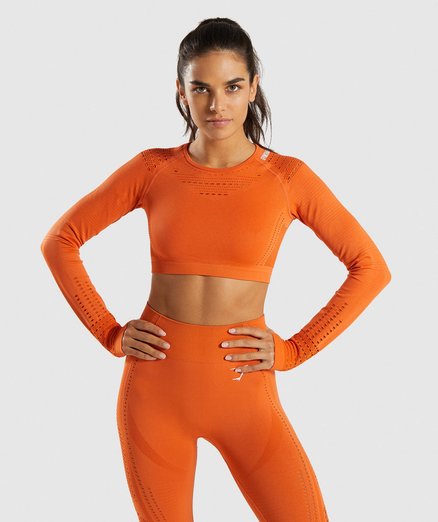 Gymshark Flawless Knit Long Sleeve Crop Top - Burnt Orange 1