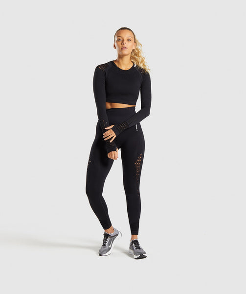 Gymshark Flawless Knit Long Sleeve Crop Top - Black 3