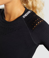 Gymshark Flawless Knit Long Sleeve Crop Top - Black 11