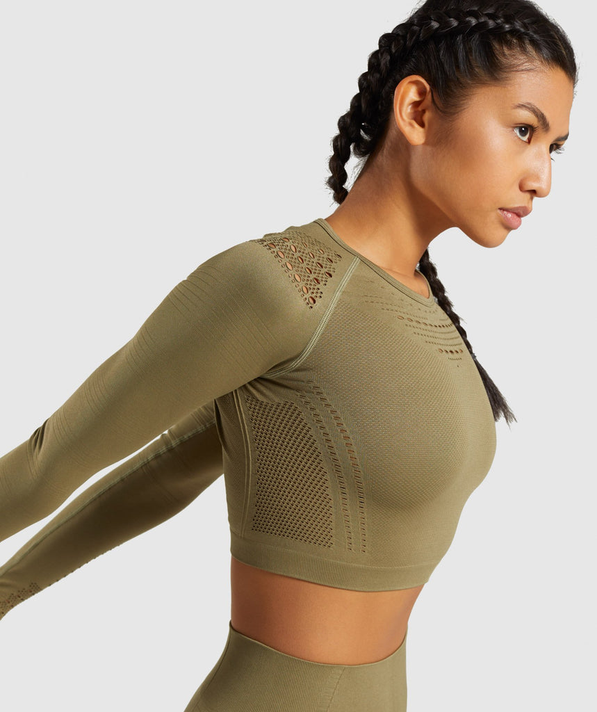 Gymshark Flawless Knit Long Sleeve Crop Top - Khaki 6