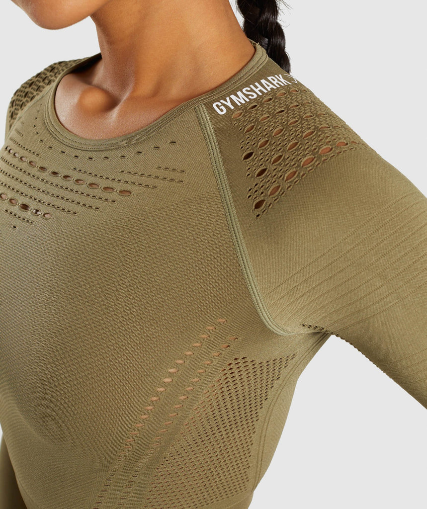 Gymshark Flawless Knit Long Sleeve Crop Top - Khaki 5