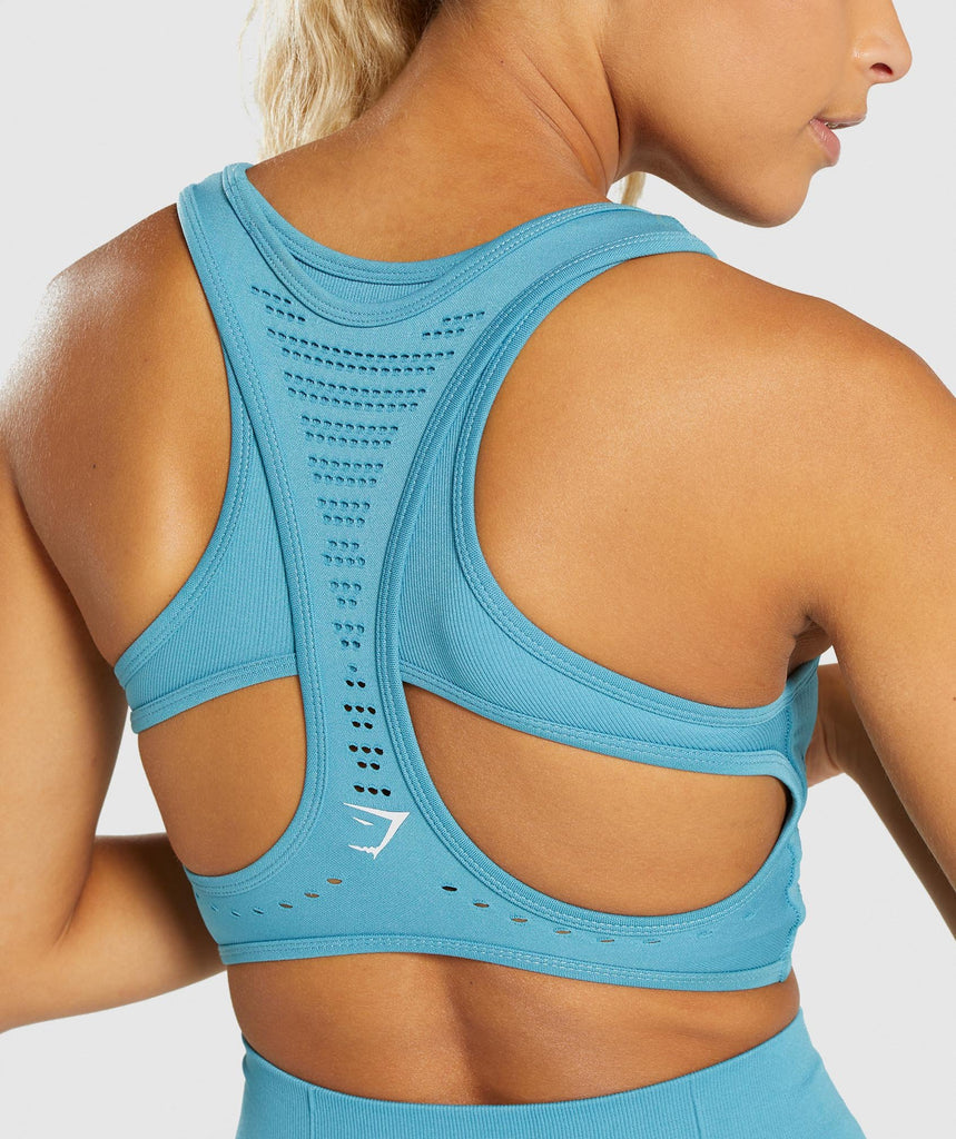 Gymshark Flawless Knit Sports Bra - Sea Blue 6