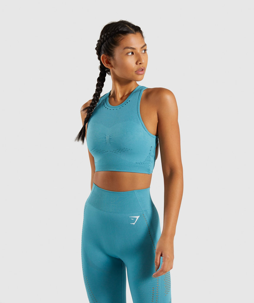 Gymshark Flawless Knit Sports Bra - Teal 1