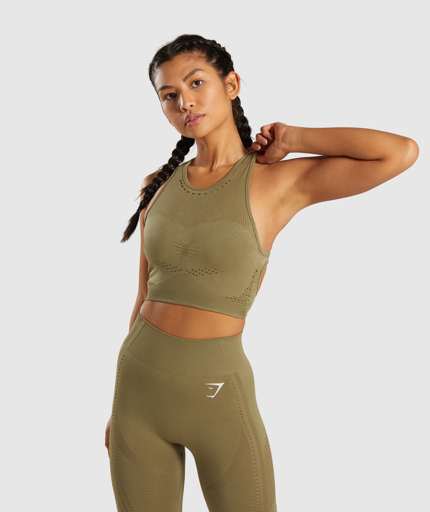 Gymshark Flawless Knit Sports Bra - Khaki 1
