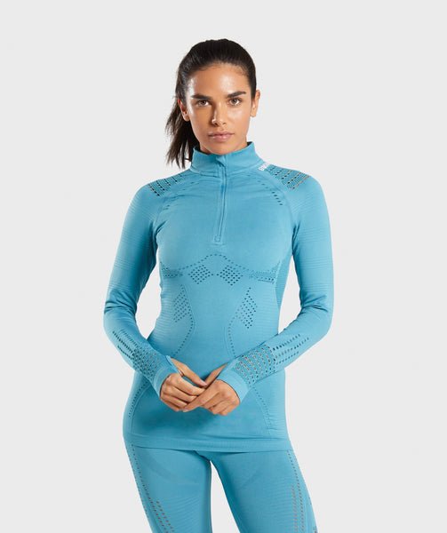 Gymshark Flawless 1/2 Zip Up Pullover - Teal 4