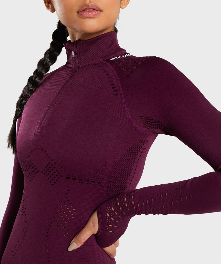 Gymshark Flawless 1/2 Zip Up Pullover - Ruby 5