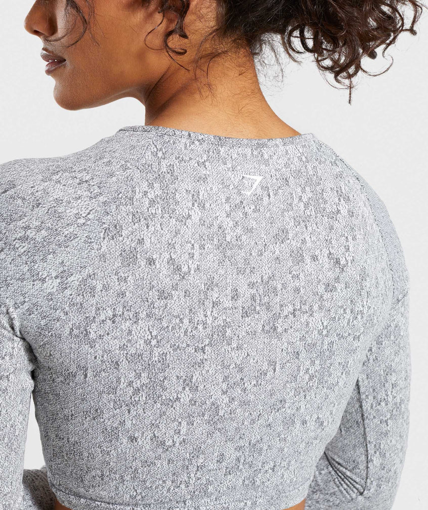 Gymshark Fleur Texture Long Sleeve Crop - Charcoal Marl 6