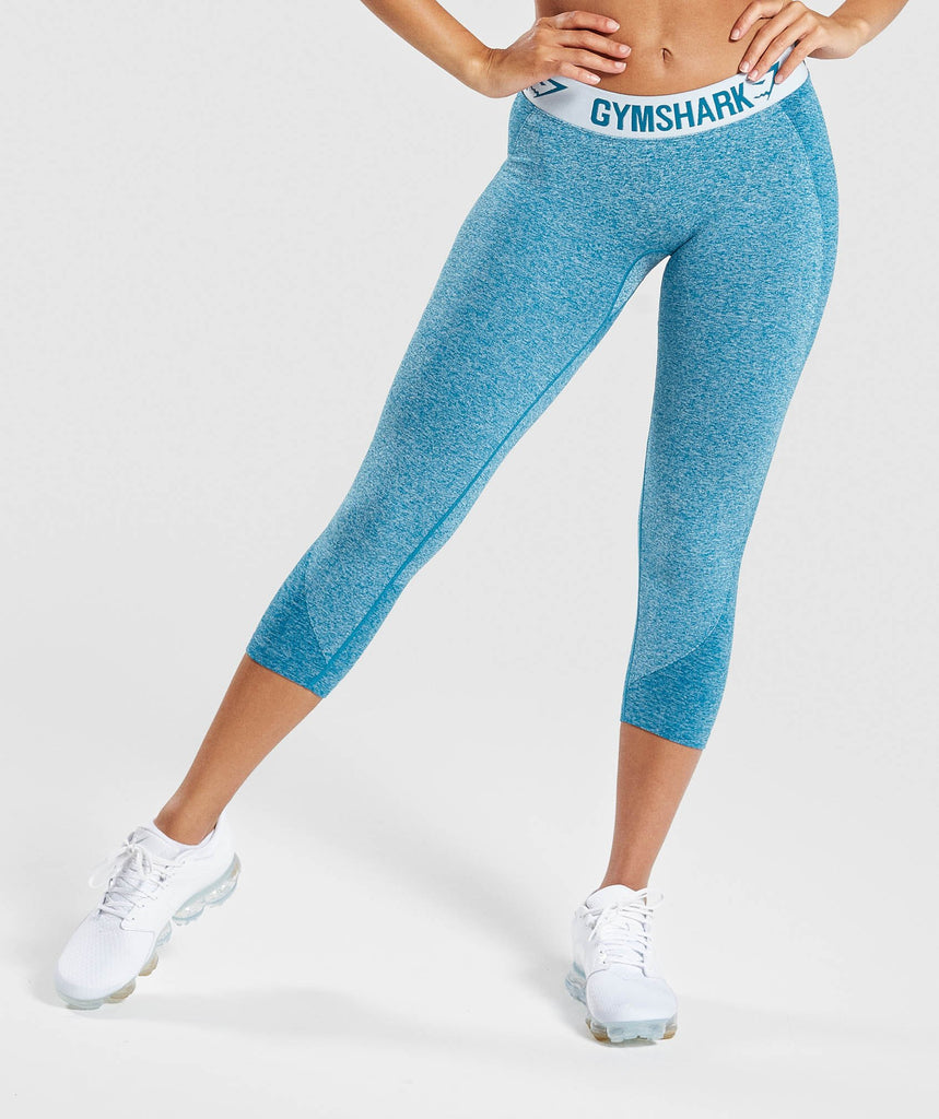 Gymshark Flex Cropped Leggings - Deep Teal/Ice Blue 1