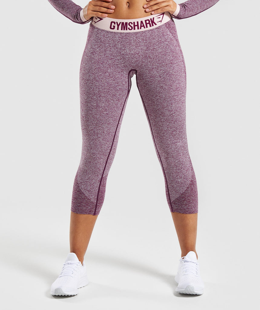 Gymshark Flex Cropped Leggings - Dark Ruby Marl/Blush Nude 1
