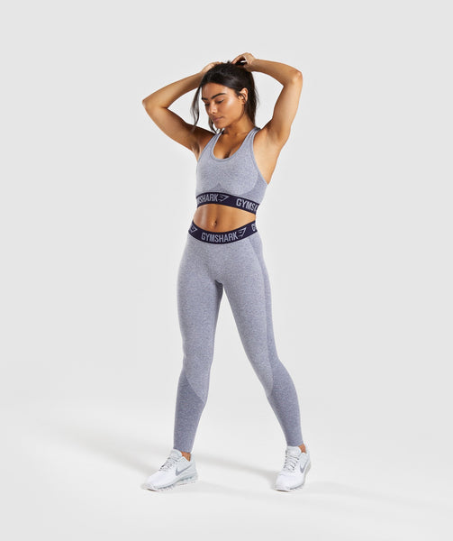 Gymshark Flex Leggings - Steel Blue Marl/Evening Navy Blue 4