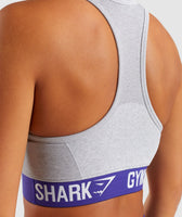 Gymshark Flex Sports Bra - Light Grey Marl/Indigo 12