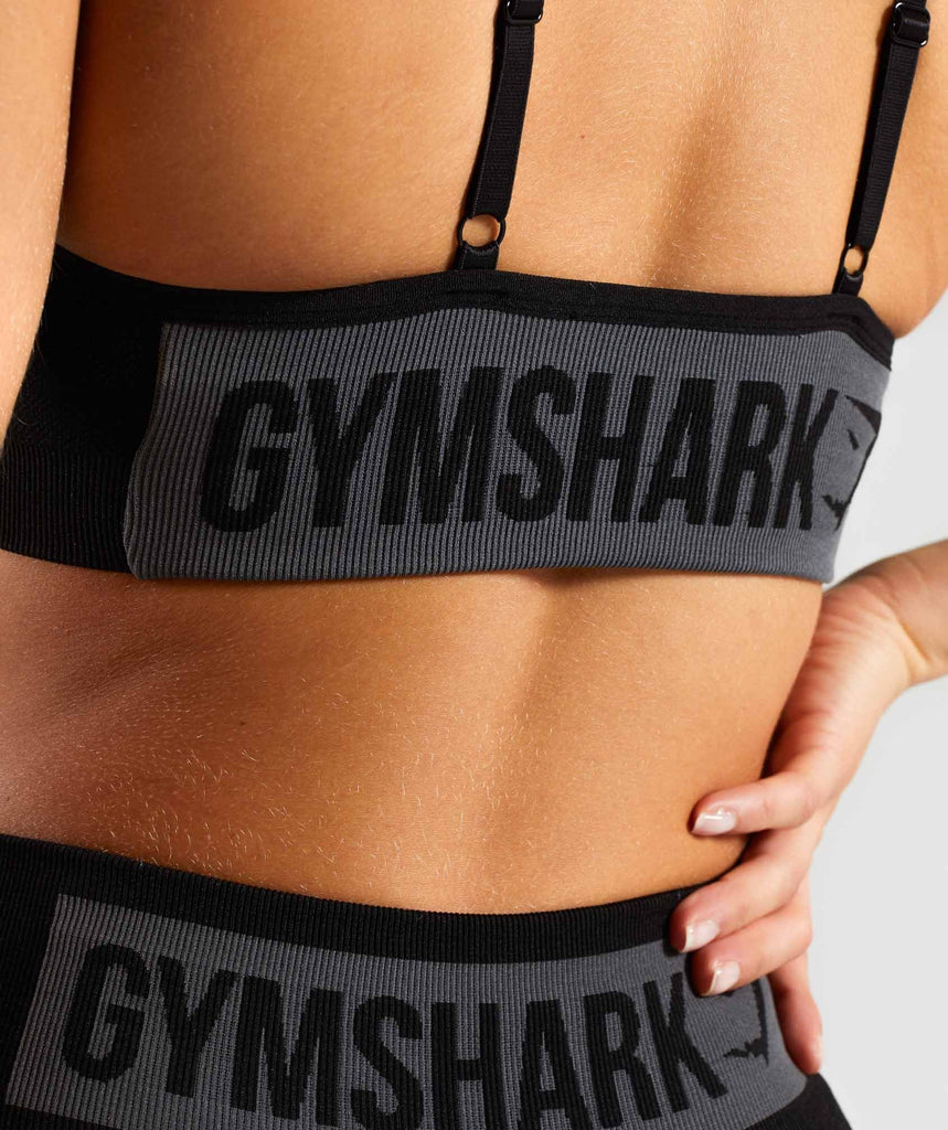 Gymshark Flex Strappy Sports Bra - Black/Charcoal 5