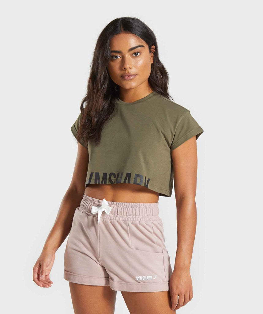Gymshark Fraction Crop Top - Khaki 1