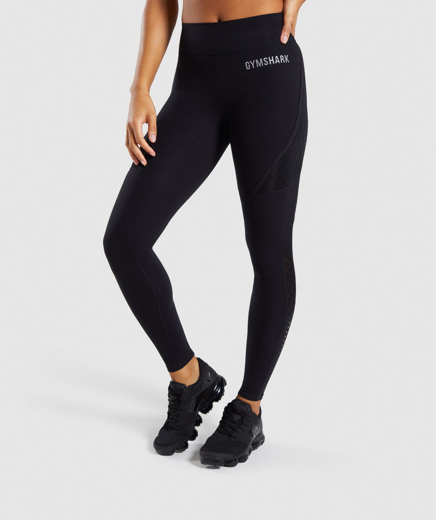 Gymshark Geo Mesh Leggings - Black 1