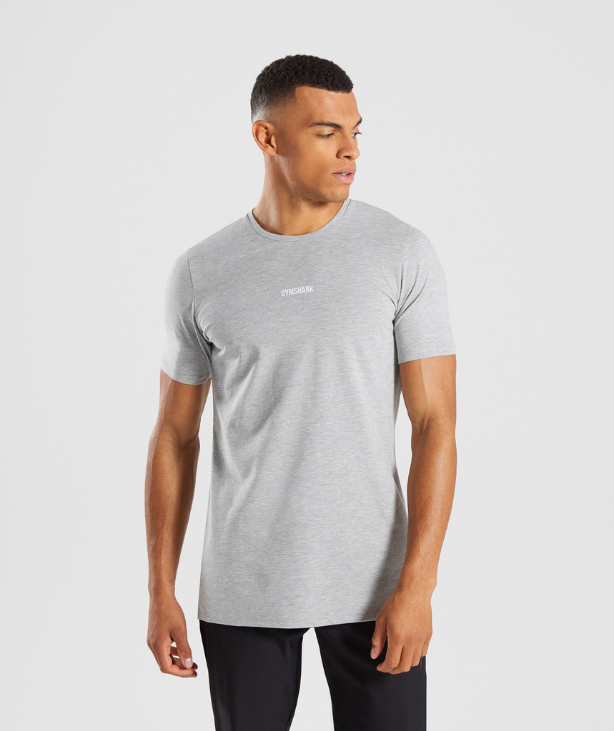 Gymshark Geo T-Shirt - Light Grey Marl 1