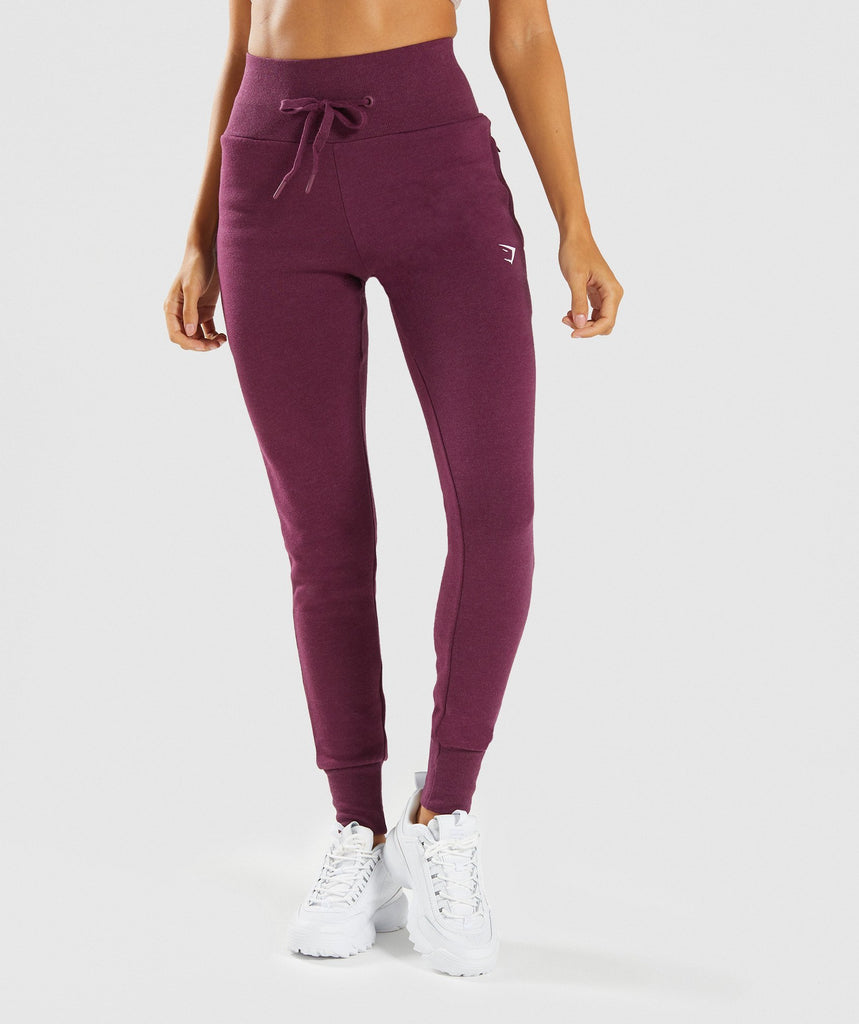 Gymshark High Waisted Joggers - Dark Ruby Marl 1