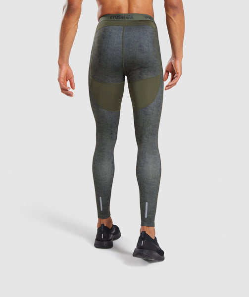 Gymshark Hybrid Baselayer Leggings - Woodland Green Marl 1