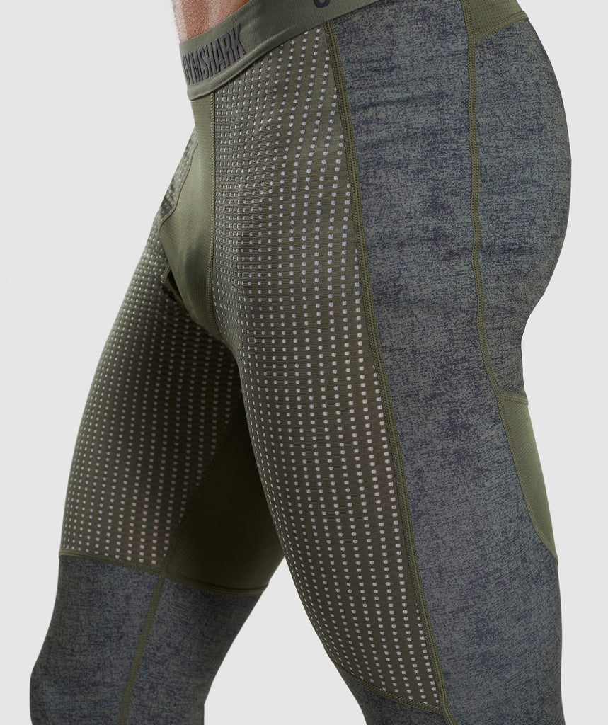 Gymshark Hybrid Baselayer Leggings - Woodland Green Marl 5