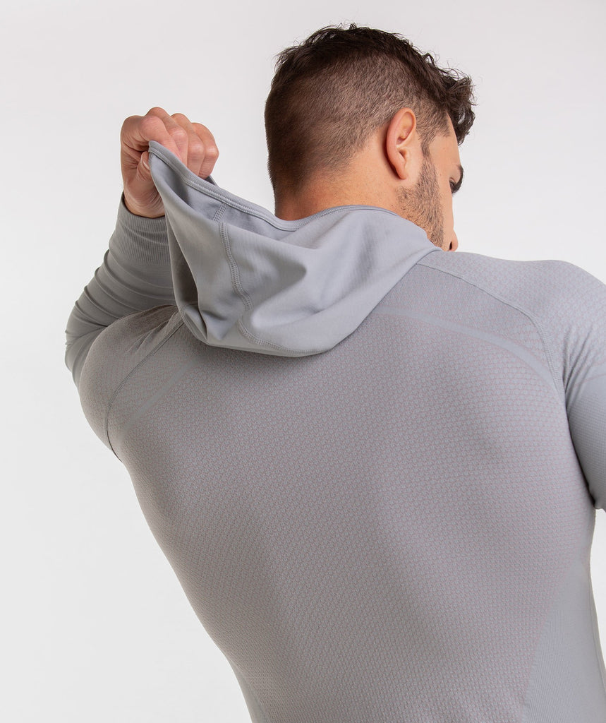 Gymshark Onyx Imperial Long Sleeve Hooded Top - Light Grey 6