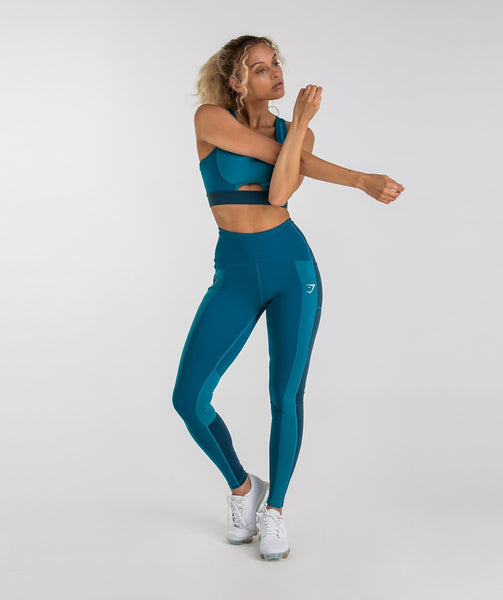 Gymshark Tonal Block Leggings - Deep Teal 3