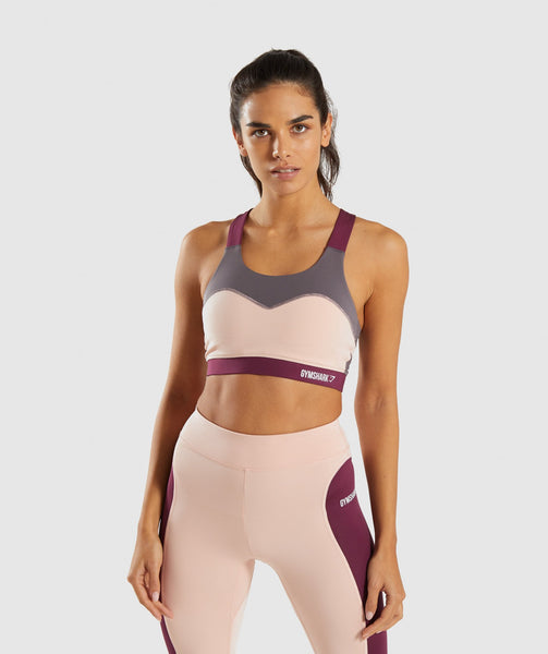 Gymshark Illusion Sports Bra - Dark Ruby/Blush Nude/Slate Lavender 4