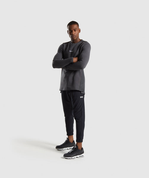 Gymshark Jacquard Back Long Sleeve T-Shirt - Charcoal Marl 2