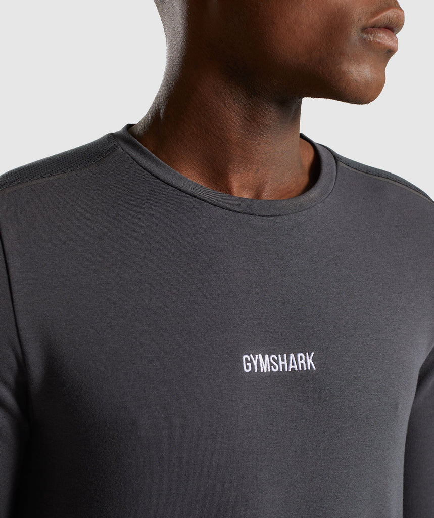 Gymshark Jacquard Back Long Sleeve T-Shirt - Charcoal Marl 6