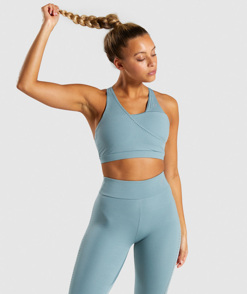 Gymshark Laser Cut Sports Bra - Turquoise 1