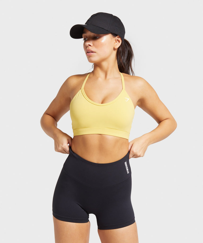 Gymshark V Neck Training Sports Bra - Yellow 1