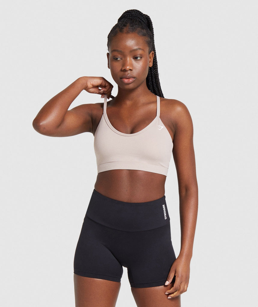 Gymshark V Neck Training Sports Bra - Taupe 1