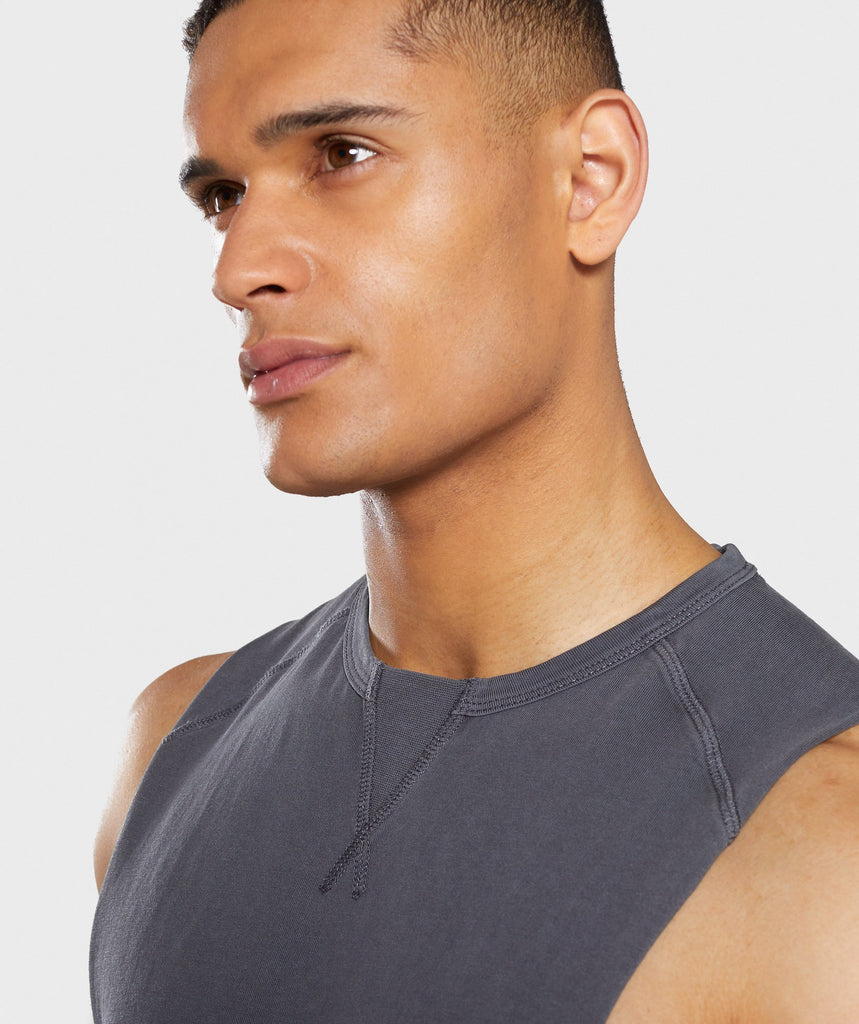 Gymshark Laundered Drop Arm Tank - Charcoal 6