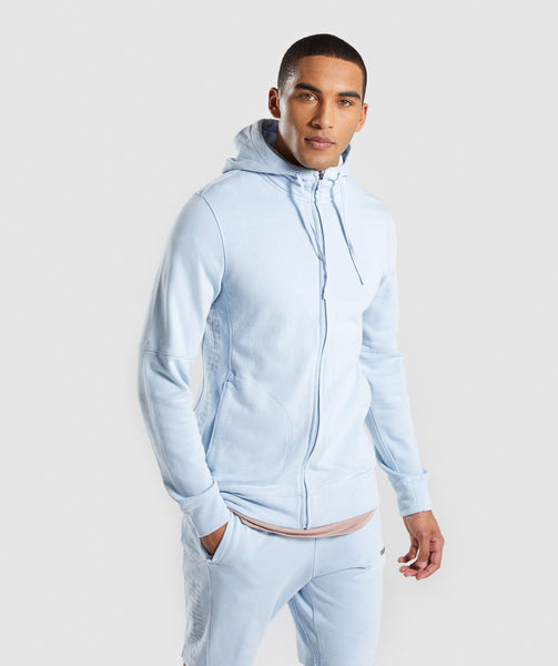 Gymshark Laundered Zip Hoodie - Light Blue 4