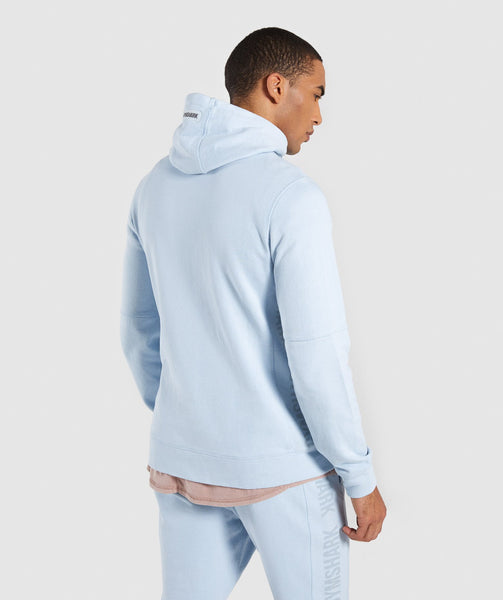 Gymshark Laundered Zip Hoodie - Light Blue 1