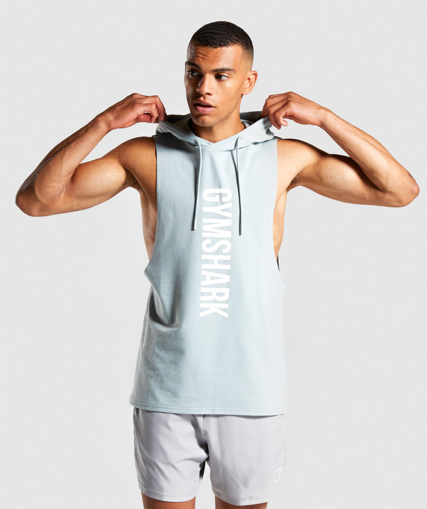 Gymshark Maximize Drop Armhole Hoodie - Light Blue 1