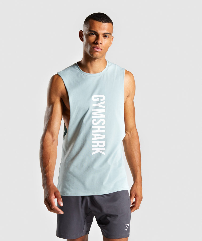 Gymshark Maximize Drop Armhole Tank - Light Blue 1