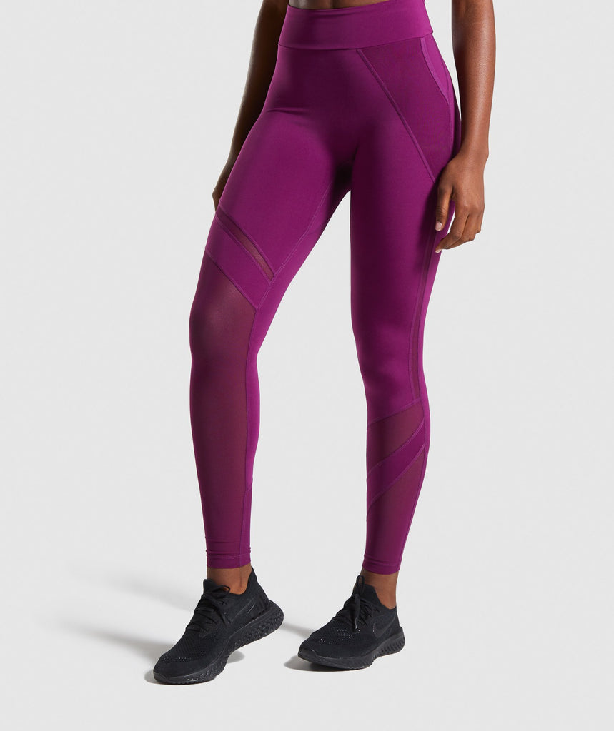 Gymshark Mesh Layer Leggings - Deep Magenta 1