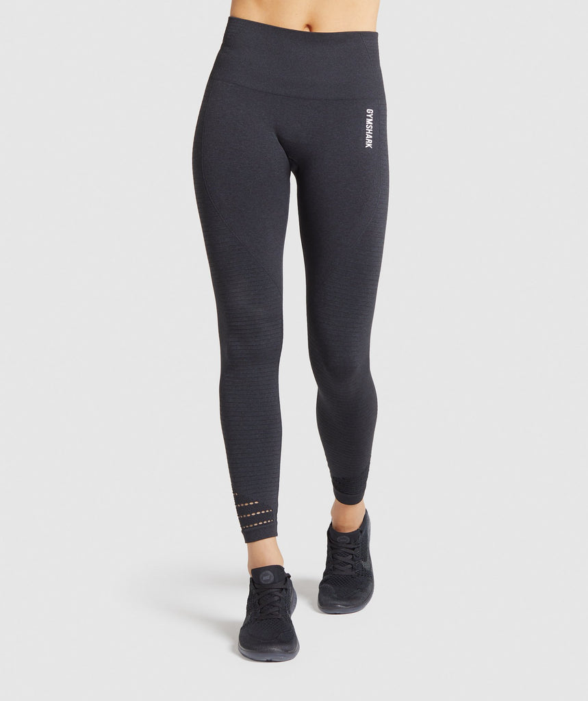 Gymshark Origin Seamless Leggings - Black Marl 1