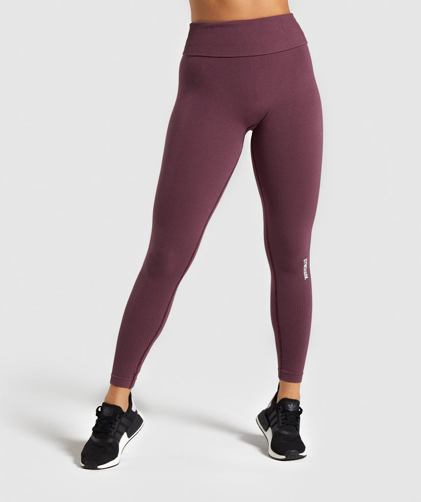 Gymshark Power Down Leggings - Berry Red 1